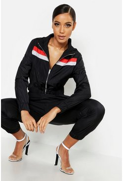 Womens Black Stripe Shell Tracksuit Top