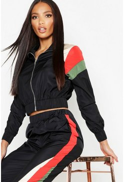 Womens Black Stripe Shell Zip Detail Tracksuit Top