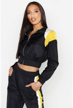 Womens Black Colour Block Zip Detail Tracksuit Top