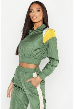 Womens Khaki Colour Block Zip Detail Tracksuit Top