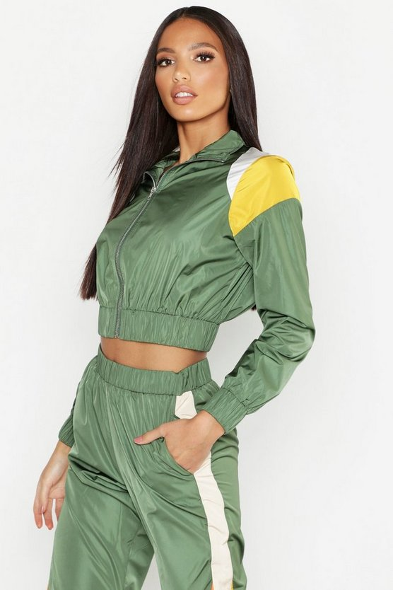 Colour Block Zip Detail Tracksuit Top
