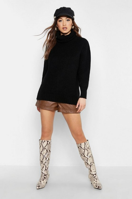Black Neon Oversized Roll Neck Rib Knit Sweater