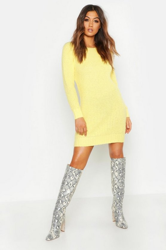 Womens Lemon Pastel Soft Knit Jumper Dress