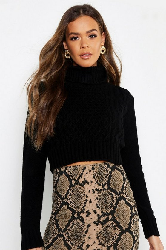 Pastel Turtle Neck Cable Crop Jumper