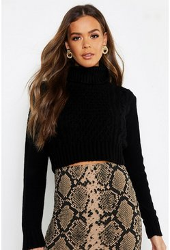 Womens Black Pastel Turtle Neck Cable Crop Sweater