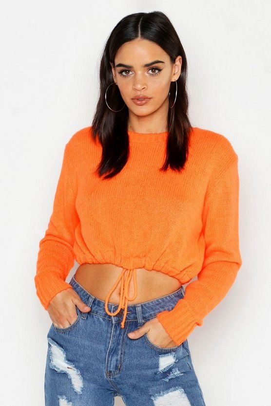 Neon Ruched Hem Soft Knit Jumper