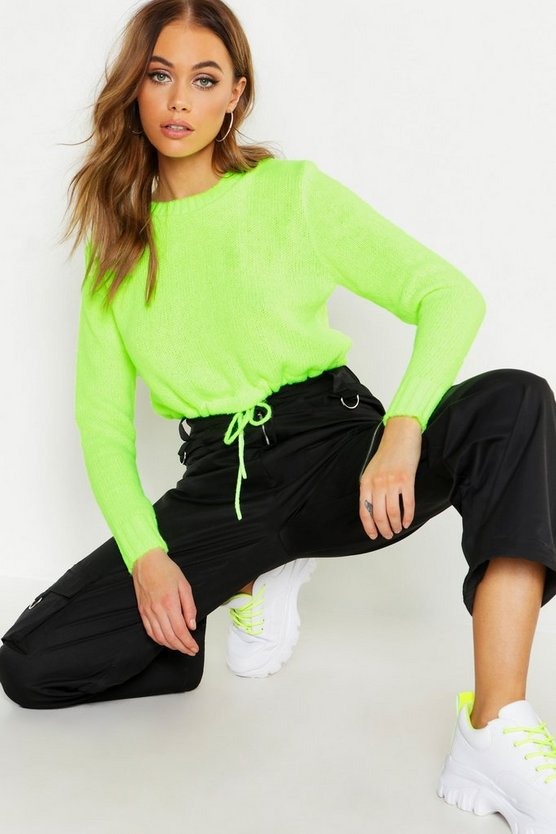 Womens Neon-yellow Neon Ruched Hem Soft Knit Jumper