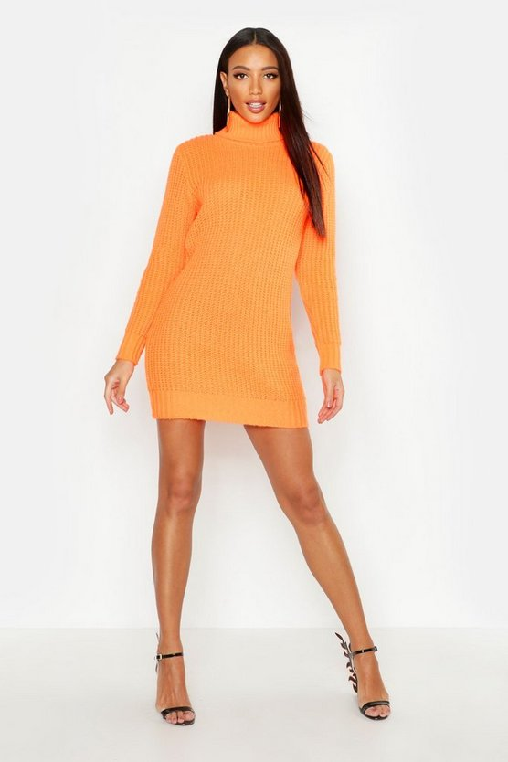 Womens Neon-orange Roll Neck Soft Knit Neon Jumper Dress
