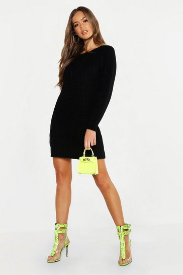 Womens Black Soft Knit Neon Jumper Dress
