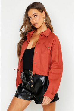 Womens Rust Cropped Utility Jacket
