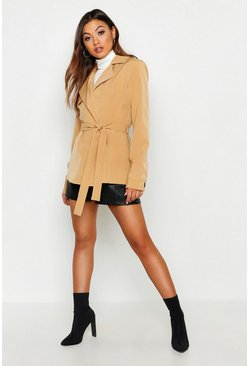 Womens Stone Short Belted Trench