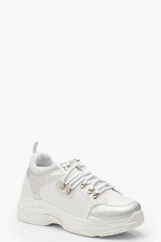 White Holographic Panel Lace Up Hiker Trainers