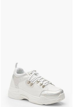 Womens White Holographic Panel Lace Up Hiker Trainers