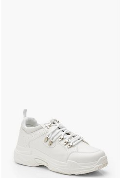 Womens White Lace Up Chunky Hiker Sneakers