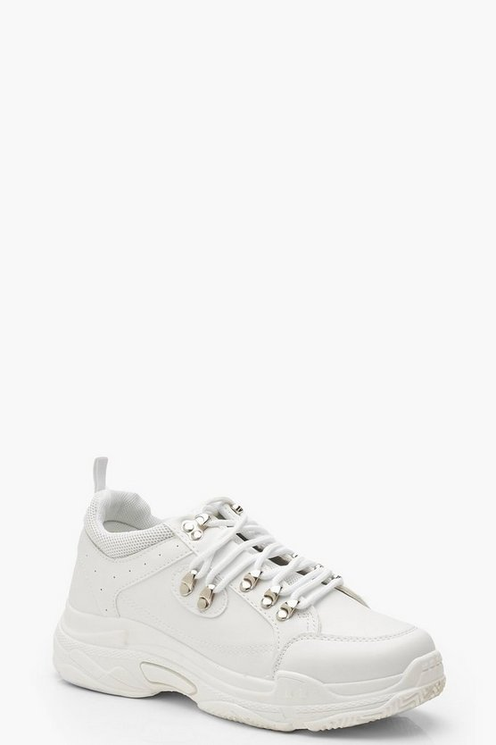 Womens White Lace Up Chunky Hiker Trainers