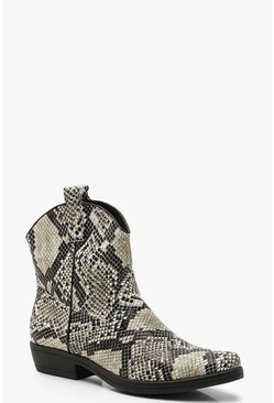 Natural Snake Western Boots
