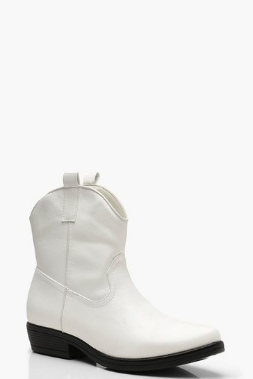 Womens White Western Style Boots