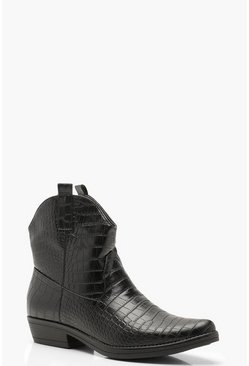 Womens Black Croc Western Boots