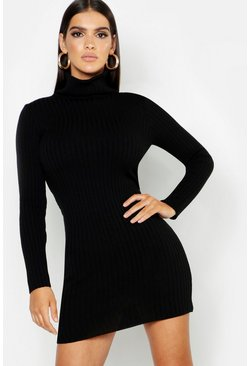 Womens Black Roll Neck Rib Knitted Mini Dress