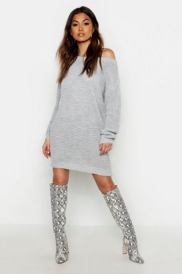 Womens Grey Waffle Knit Off The Shoulder Dress