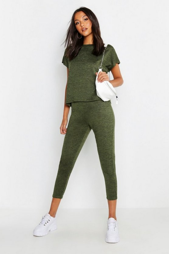 Womens Khaki Boxy Knitted Loungewear Set