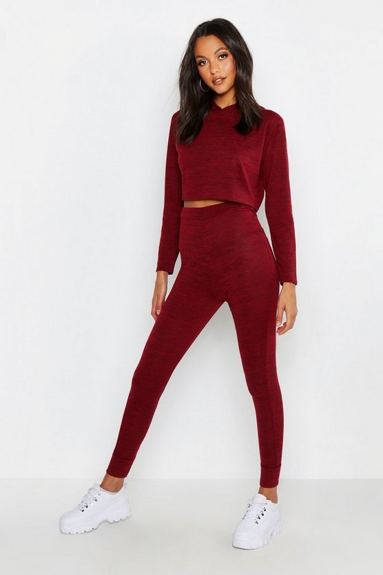 Crop Hooded Knitted Lounge Set