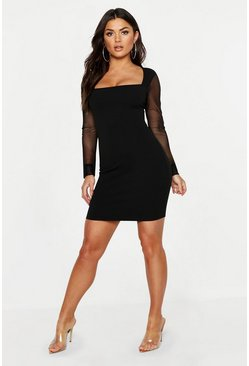 Womens Black Mesh Sleeve Contrast Bodycon Dress