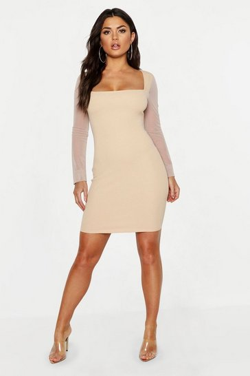 Womens Stone Mesh Sleeve Contrast Bodycon Dress