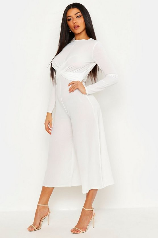 Womens Ivory Knot Front Culotte Jumpsuit