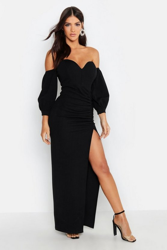 Womens Black Off The Shoulder Sweetheart Ruched Maxi Dress