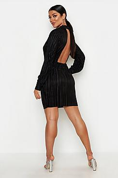 Plisse Blouson Sleeve Open Back Bodycon Dress