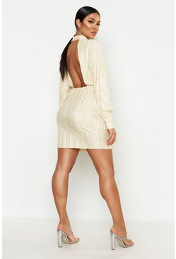 Taupe Plisse Blouson Sleeve Open Back Bodycon Dress