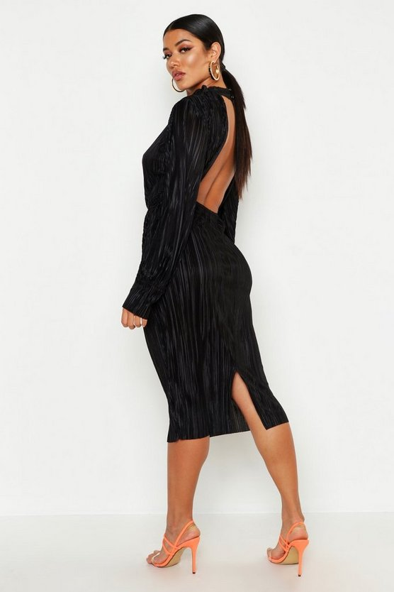 Womens Black Plisse Blouson Sleeve Open Back Midi Dress