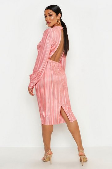 Rose Plisse Blouson Sleeve Open Back Midi Dress