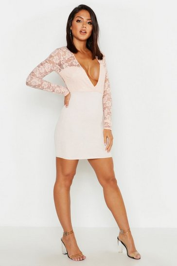 Womens Nude Lace Sleeve Plunge Bodycon Dress