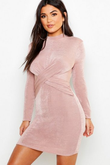Womens Rose Textured Slinky Twist Long Sleeve Bodycon Dress
