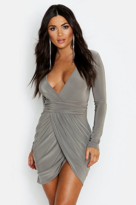 Slinky Open Back Wrap Front Bodycon Dress