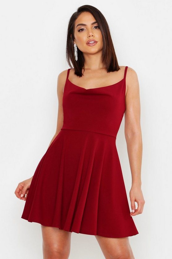 Strappy Cowl Neck Skater Dress