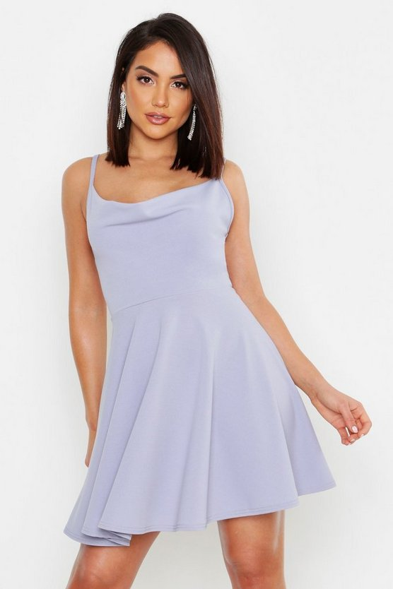 Womens Grey Strappy Cowl Neck Skater Dress