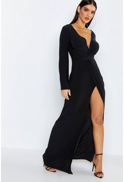 Black Flared Sleeve Twist Front Slinky Maxi Dress