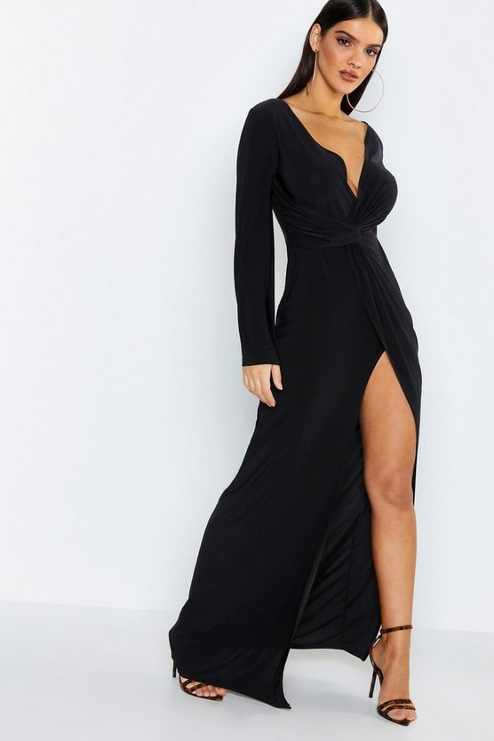Flared Sleeve Twist Front Slinky Maxi Dress