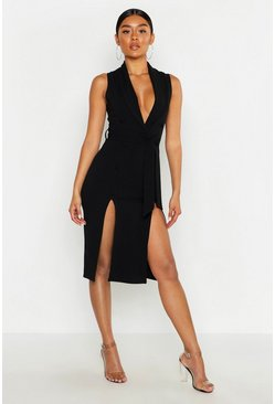 Womens Black Crepe Button Detail Split Front Midi Dress