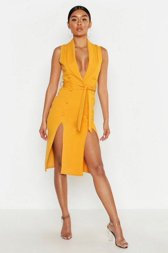 Womens Mustard Crepe Button Detail Split Front Midi Dress