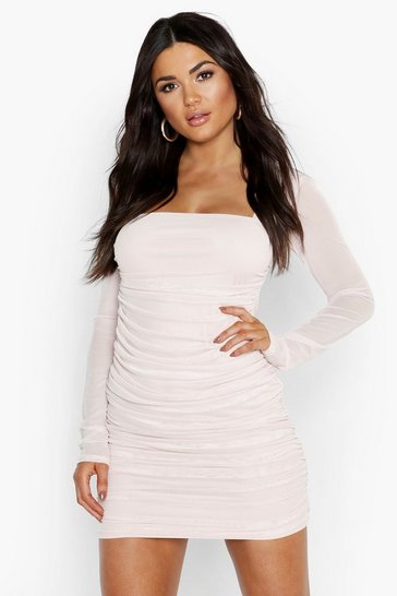 Nude Square Neck Ruched Mesh Bodycon Dress