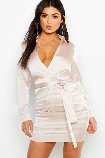 Womens Champagne Satin Ruched Shirt Dress