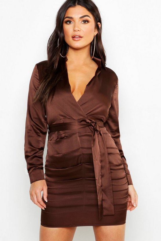 Satin Ruched Shirt Dress