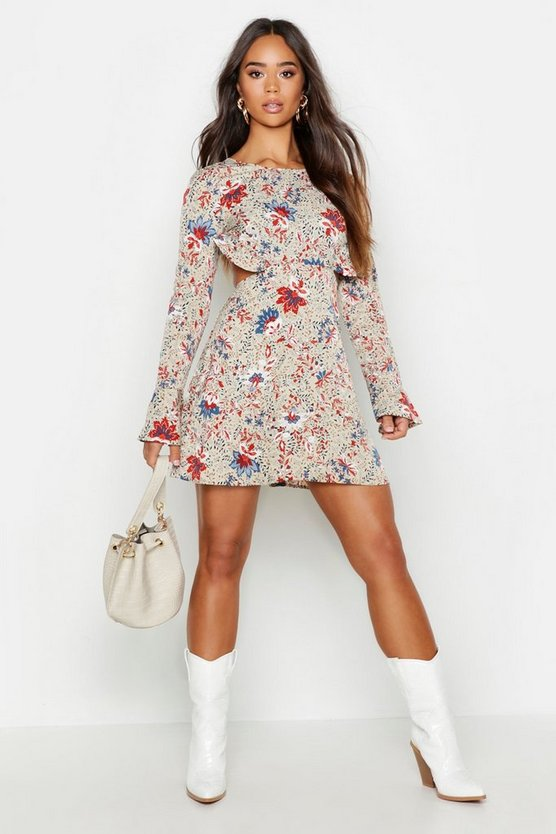 Womens Sage Floral Frill Open Back Skater Dress