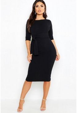 Black Open Back Belted Midi Dress