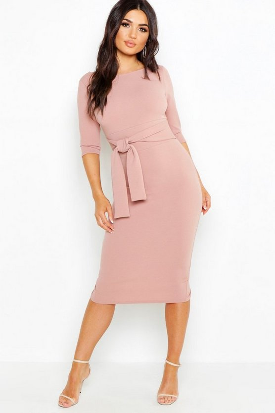 Womens Rose Open Back Belted Midi Dress