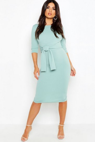 Sage Open Back Belted Midi Dress